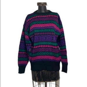 VTG Meister 100% Wool Neon Aztec Nordic Striped Crewneck Sweater Large